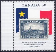 Anniversary of Acadian Deportation margin stamp, Acadien deportálás évfordulója ívszéli bélyeg, Jahrestag des Beginns der Deportation der Akadier Marke mit Rand