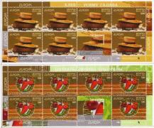 Europa CEPT gastronomy 2 stamp booklets, Europa CEPT gasztronómia 2 db bélyegfüzet, Europa: Gastronomi 2 Markenheftchen