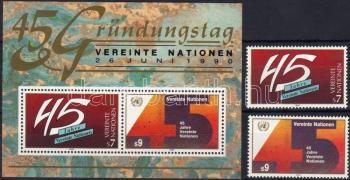 45th anniversary of the UNO set + block, 45 éves az ENSZ sor + blokk, 45 Jahre Vereinte Nationen Satz + Block