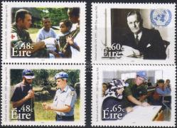 50th anniversary of Irish UN memebership set (one set in that), Írország 50 éve az ENSZ tagja sor (benne egy pár), 50 Jahre Mitgliedschaft Irlands bei den Vereinten Nationen Satz (mit einem Paar)