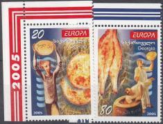 Europa CEPT Gastronomie Satz mit Rand, Europa CEPT gasztronómia ívsarki sor, Europa CEPT gastronomy corner set