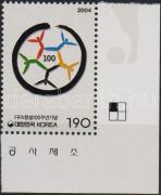 100th anniversary of FIFA corner stamp, 100 éves a Nemzetközi Labdarúgó Szövetség ívsarki bélyeg, 100 Jahre Internationaler Fußballverband Marke mit Rand